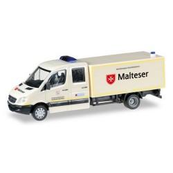 """MB Sprinter 06 Picupk bâché Cabine double """"Malteser Hilfdienst"""" (Sce de secours de la Croix de Malte)"""