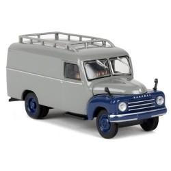 Hanomag L28 camion fourgon 1950 gris clair à ailes et face avant bleu foncé