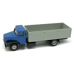 Volvo N10 bleu camion plateau à ridelles hautes grises